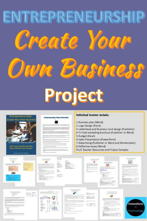 Entrepreneurship: Create Your Own Business Project for middle school (grades 6-8).  8 Part project using Microsoft Office to create a functioning business.  https://www.teacherspayteachers.com/Product/Entrepreneurship-Create-Your-Own-Business-1807358