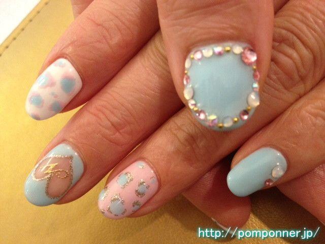 パステルカラーのヒョウ柄とハートのくり抜きアート    Drilled Heart Art pastel and leopard print    #nail  #名古屋