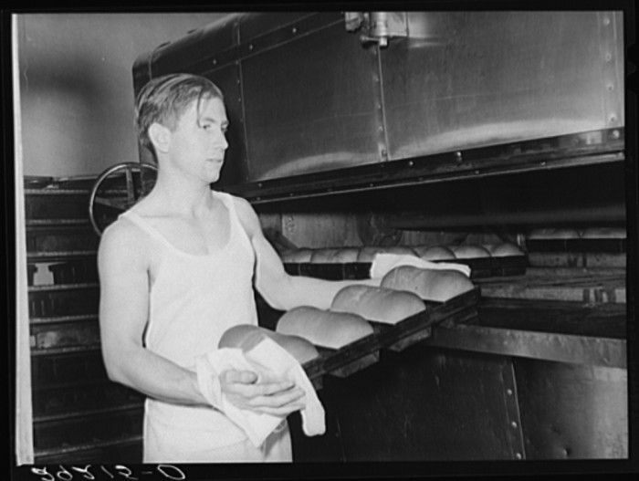 Baking bread. Columbia, Missouri 1939