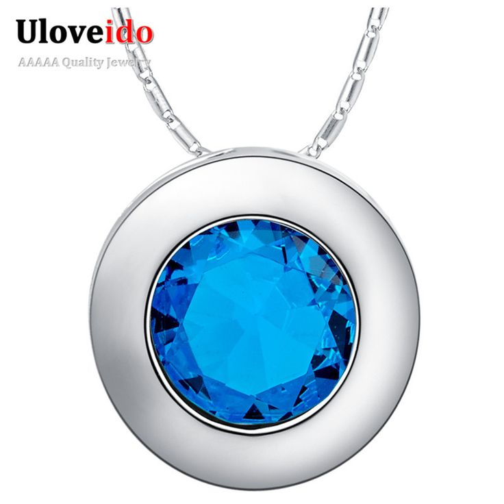 Find More Pendants Information about Cheap Free Shipping High Quality Necklaces Pendants Trendy Round Men Women Silver Jewelry Dark Bule Best Selling Zircons N1102,High Quality jewelry bear,China jewelry skin Suppliers, Cheap jewelry scissors from ULOVE F