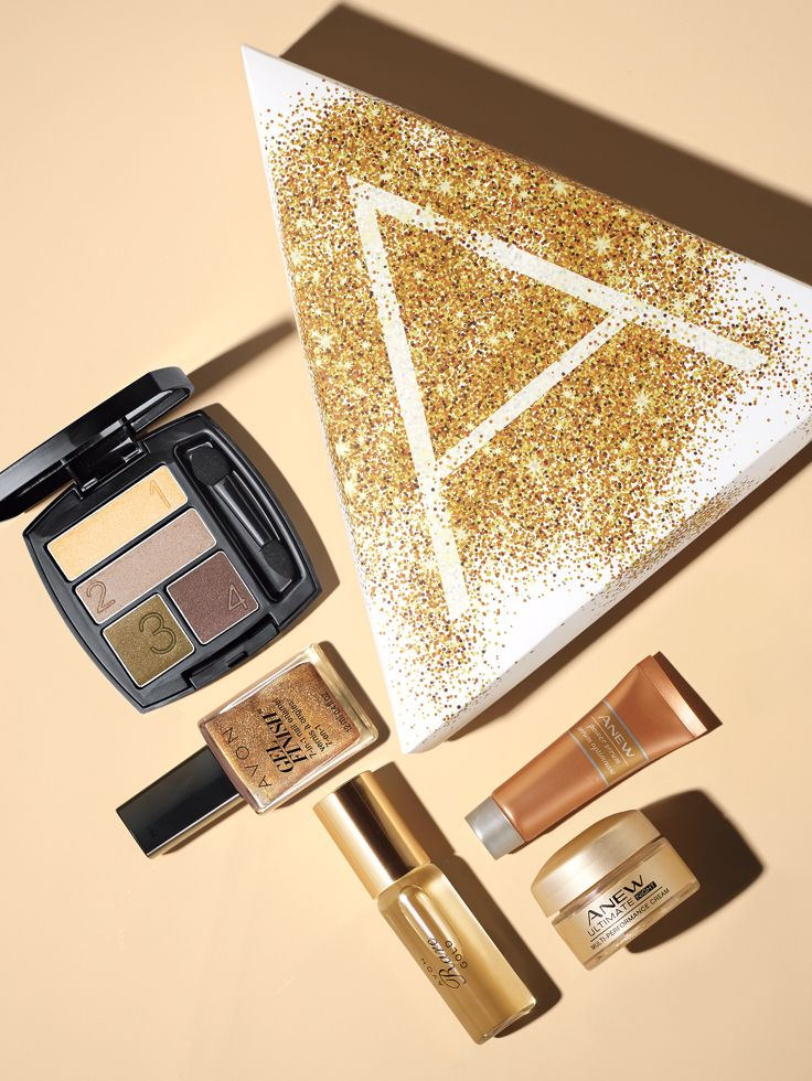 Here's an exclusive sneak peek at our Beauty of Gold holiday A Box! Get yours for just $10 with any $40 purchase. #AvonHolidays