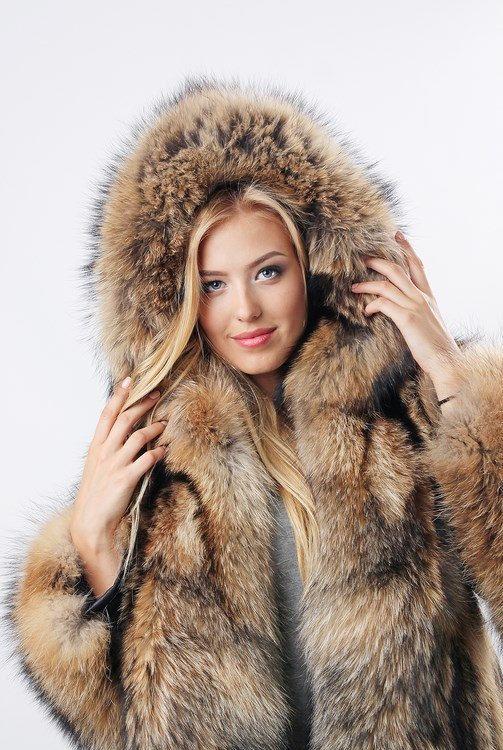 Real Raccoon Fur Fur Coat Fur Jacket For Women Long Mink