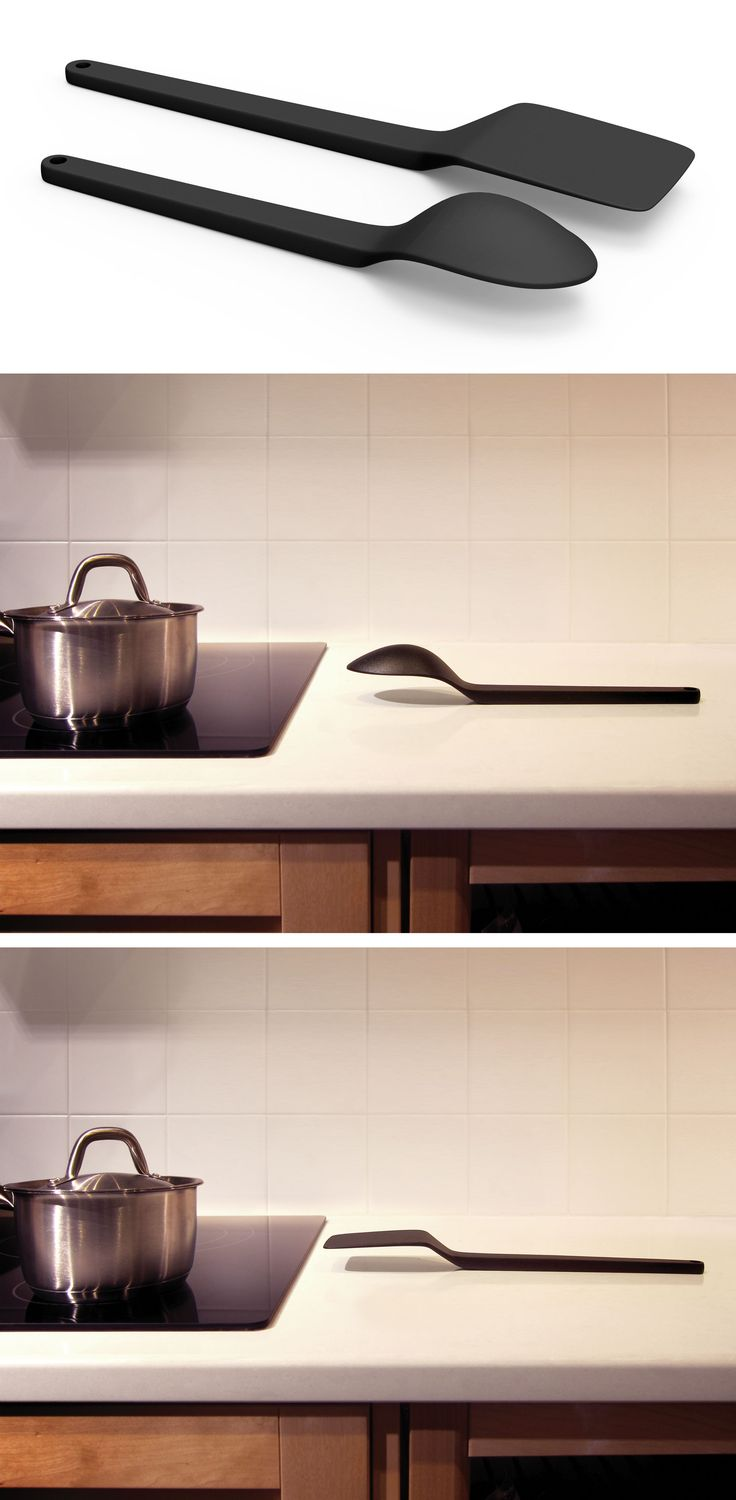 Cantilever no-mess cooking utensils float above the counter, improving hygiene and reducing mess. They also eliminate the need for a spoon rest. We rethought the angle of traditional cooking utensils to put a little distance between what touches our food and what rests on the counter. Cantilever Cooking Utensils were designed to look beautiful and tested to ensure they are pleasant to use.