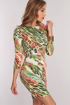 Green Multi Animal Print Long Sleeve Sexy Party Dress @ Amiclubwear sexy dresses,sexy dress,prom dress,summer dress,spring dress,prom gowns,teens dresses,sexy party wear,women's cocktail dresses,ball dresses,sun dresses,trendy dresses,sweater dresses,teen