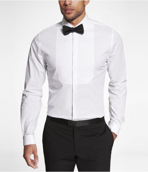 Express Mens 1Mx Fitted Bib Front Tuxedo Shirt White, Small