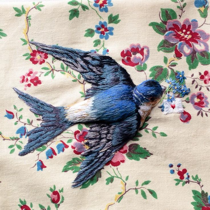 embroidered bird on floral fabric http://shannonssewandsew.com