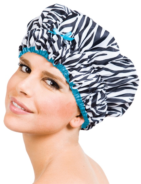 The Fashionista Collection-Sassy Stripes (#5210)  *Stylish ruched design with elastic satin trim and bow  *Nylon exterior with eco-friendly PEVA lining  *Waterproof and mold resistant  *Over sized to fit thick or long hair