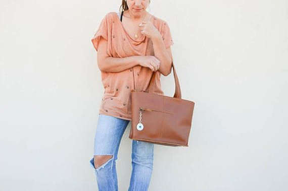 Tote Bag, Brown Leather Handbag, Shopping Bag, Made in Greece by Christina Christi Jewels, LARGE size.