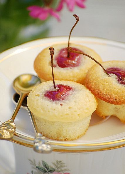 Enjoy the classic pairing of cherry and almonds in these tiny tea cakes
