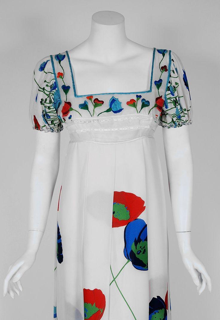 1960's Sorelle Fontana Embroidered Floral Print Silk Empire Bohemian Dress image 2