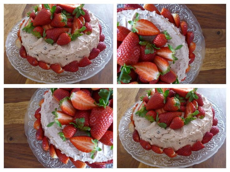 Strawberry cake with cherries cream