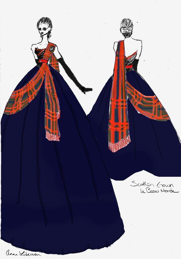 blue dress, with tartan accent