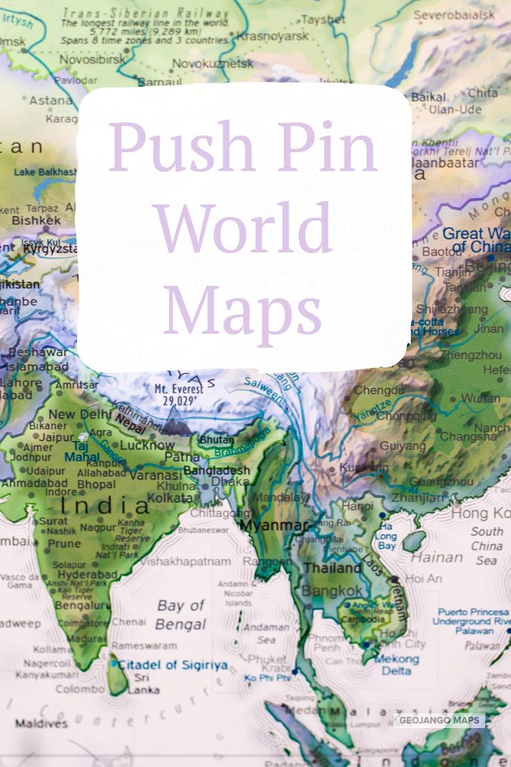 Check out our CUSTOM PUSH PIN WORLD MAPS at GeoJango com