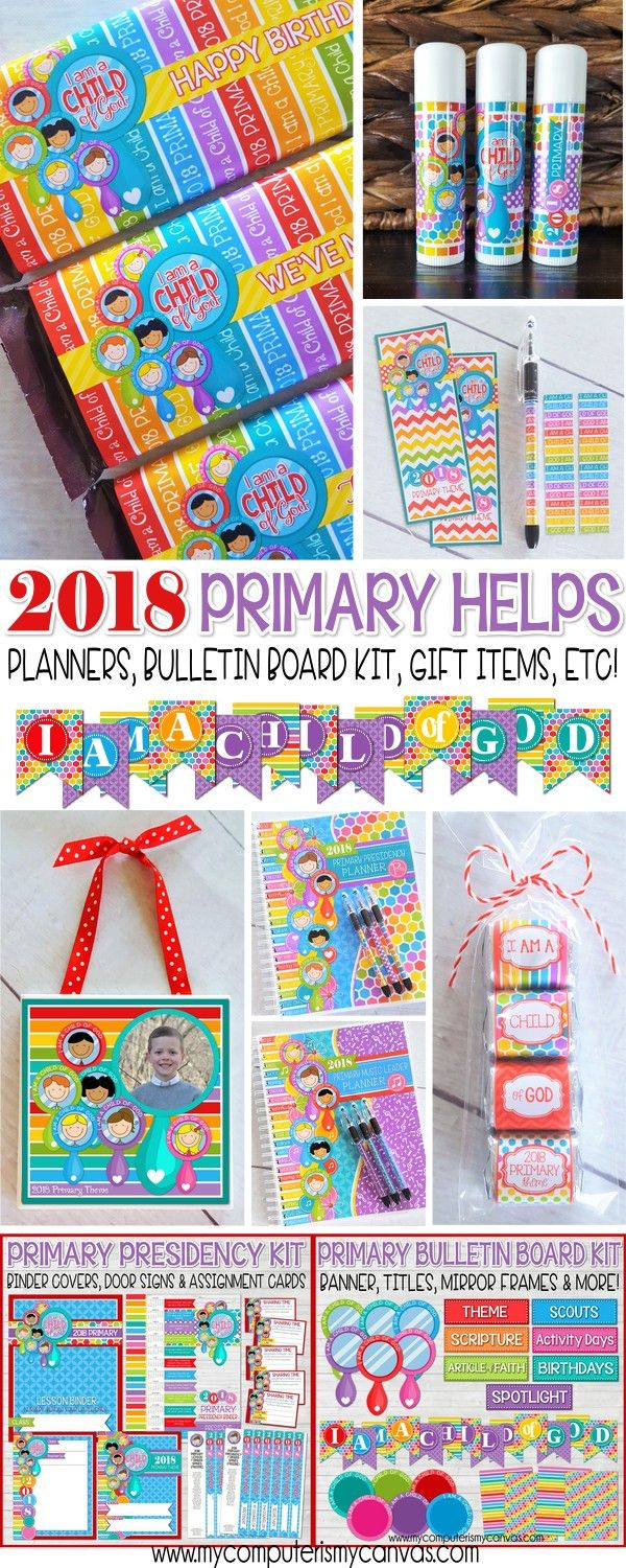 2018 LDS Primary theme, I am a Child of God Printables, lots of printables and gift ideas, presidency planner, etc. SO CUTE!! Even some free bulletin board printables, binder covers, sharing time cards! #mycomputerismycanvas
