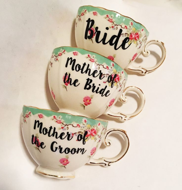 Set of 3 - Mother of the Groom, Mother of the Bride, & Bride Teacup w/ Date - Floral Tea Cup with Date on the Saucer Sea Foam Green and Pink by SamiMaurerDesigns on Etsy https://www.etsy.com/listing/399992355/set-of-3-mother-of-the-groom-mother-of