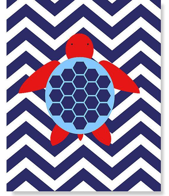 Nautical Nursery Sea Creature Sea Turtle Red White Navy Chevron Ocean Decor Marine Boy's Room Decor Sea Stripes 8 x 10 or 11 x 14