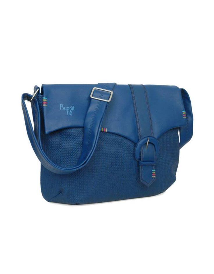 textured ink blue bag by Baggit