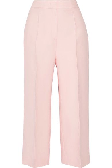 Fendi - Cropped Wool And Silk-blend Gazar Wide-leg Pants - Pastel pink