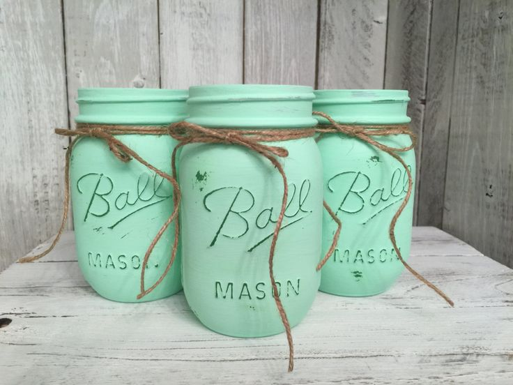 Pint Painted Mason Jars,Vintage,Rustic Home Decor,Wedding Centerpieces, Shabby Chic Painted Mason Jars,French Country,Baby Bridal by BowtiqueBurlap on Etsy