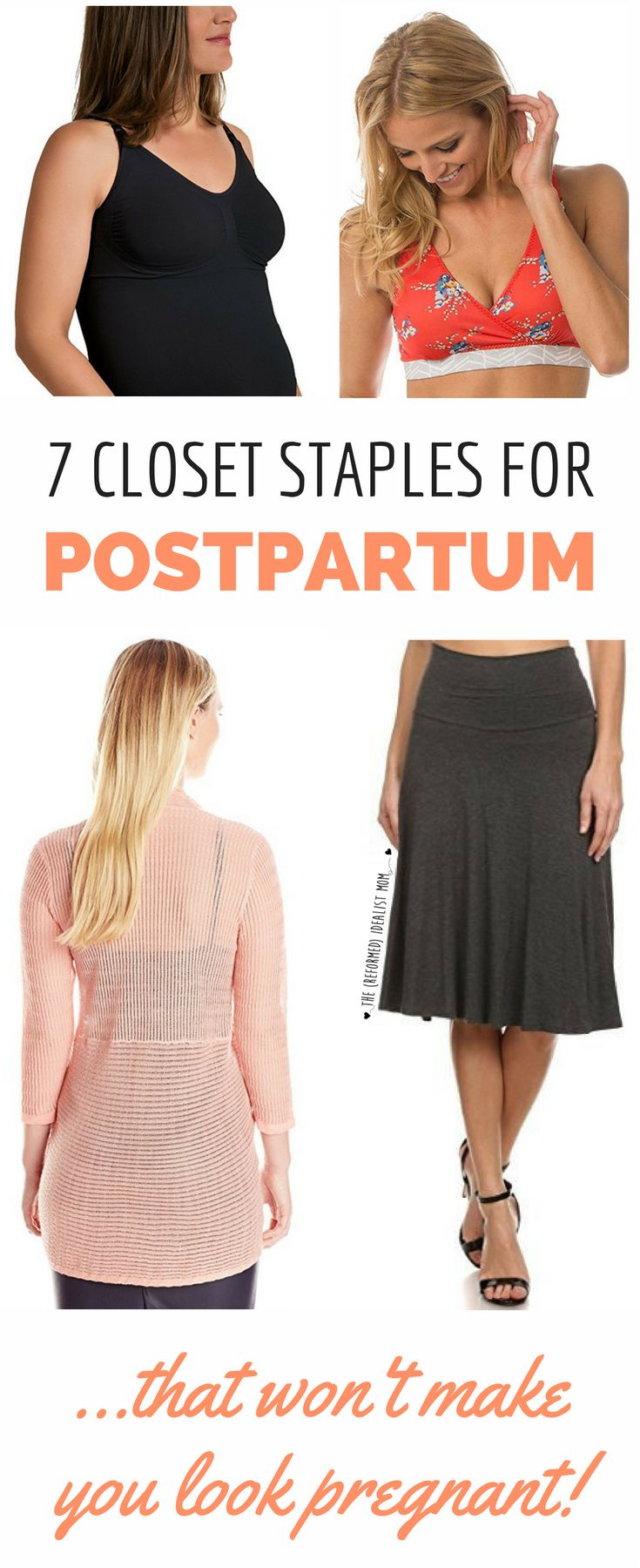 Every postpartum new mom needs this list! All the clothes you need in your closet post-baby. What to wear, what not to wear, and how you can combine fashion pieces for a style that doesn't make you look pregnant.