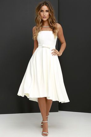 Time is Right Ivory Strapless Midi Dress at Lulus.com! $79