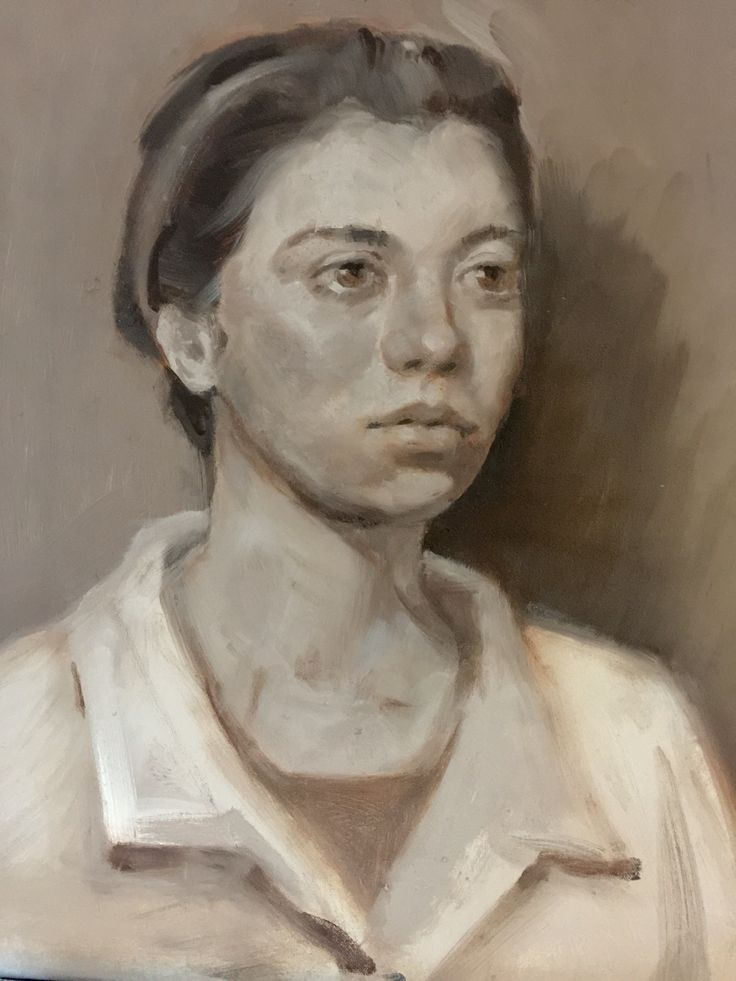 """Annalisa - 12x12"""" portrait- oil on canvas. By Marie Lardino - At: The Russian Academy of Art, Florence, It"""