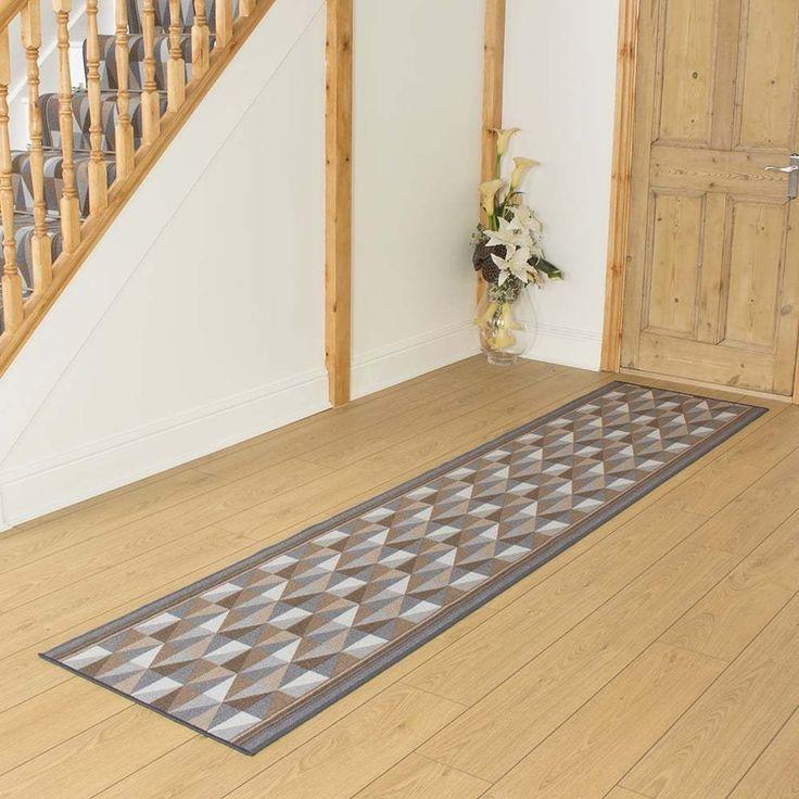 Burly Graphite - Hallway Carpet Runner Rug Mat Long Hall Anti Non Slip Gel Back #CarpetRunnersUK #Modern