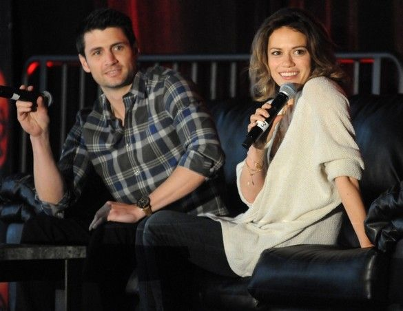 """""""One Tree Hill"""" cast members James Lafferty, left, and Bethany Joy Lenz answer questions during the Q and A's with cast members at the second day of the Return to Tree Hill 3 Convention on Saturday at the Wilmington Convention Center. The convention concludes tomorrow. Matt Born/StarNews"""