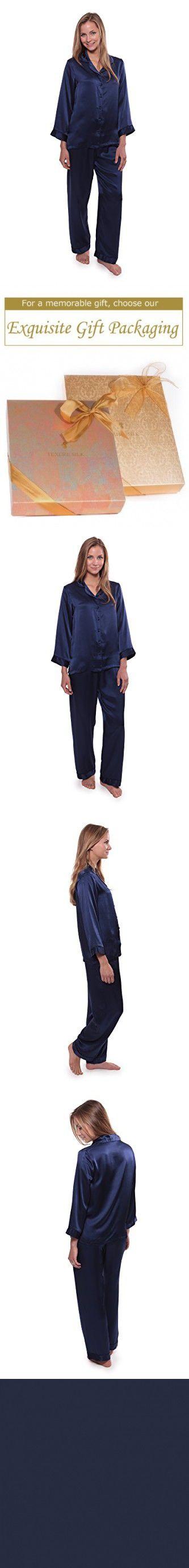 TexereSilk Women's Luxury Silk Pajama Set (Morning Dew, Gulf Blue, Medium/Petite) Cool Gifts for Bridal Shower WS0001-GFB-MP