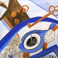 Az idő megáll akvarell festmény - megvásárolható #art #myart #aquarell #blue #time #clock