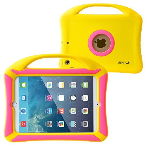 BeneU iPad Mini 3 2 1 Case for Kids Tablet Protective Case Children Shockproof Drop Proof Soft Silicone Portable Lightweight Handle Case Cover for iPad Mini Retina Display and iPad Mini 3 2 1 Yellow