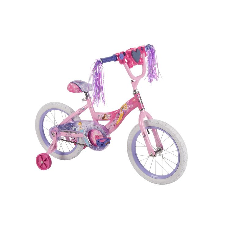 Disney Princess 16-Inch Tire Magic Mirror Bike with Training Wheels by Huffy, Pink, Durable