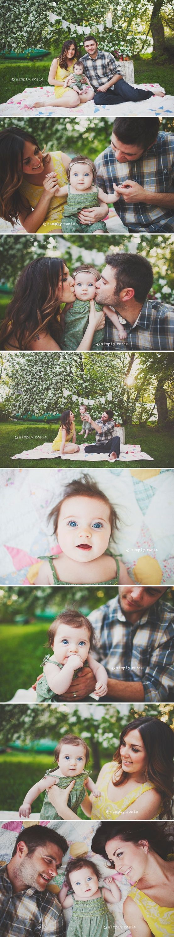 family picnic photo shoot-Great ideas for family of 3. the baby's eyes are so blue!!