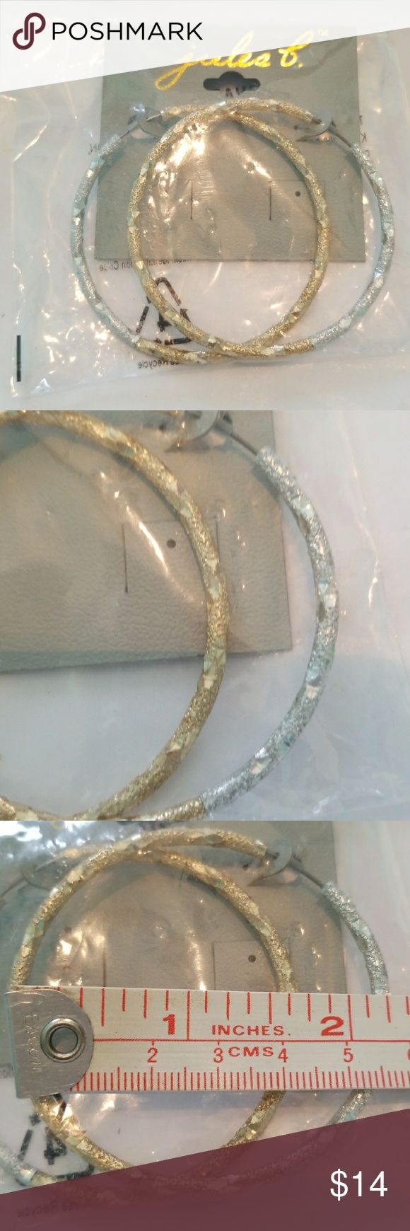 NWT Jules B Two Tone Hoop Earrings Really good quality. Two tone in gold and silver, with great pattern/details. Never worn, still in its original packaging from when I purchased online.Measurements shown on 3rd pic. jules b. Jewelry Earrings