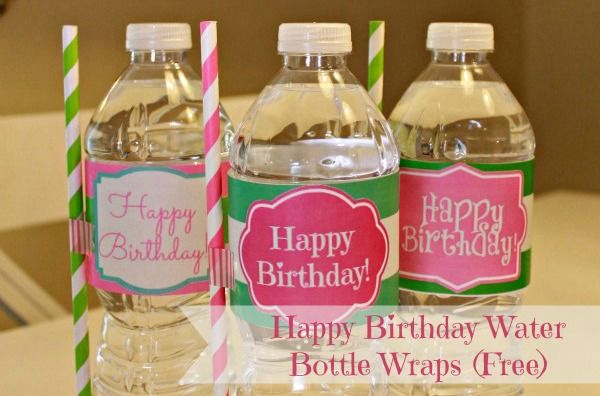 Water never looked so good! You can find free printable Happy Birthday water bottle labels online - or make your own. Add a striped paper straw with some Washi tape.