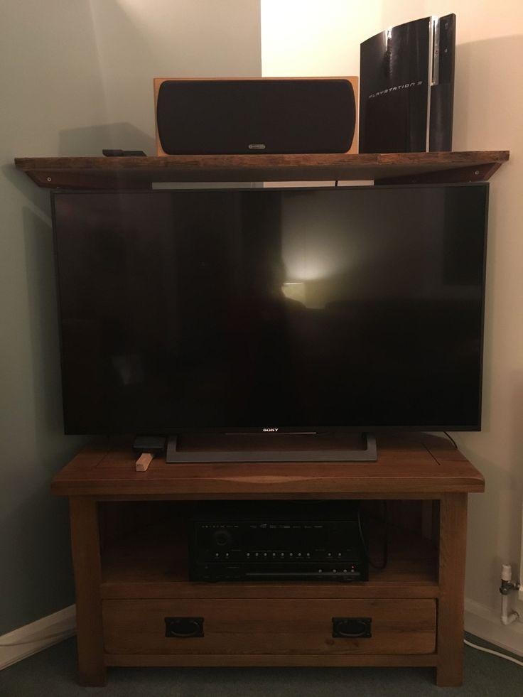Ed's handmade waney oak shelf with mahogany bearers, and oak furniture land TV stand #OakFurniture