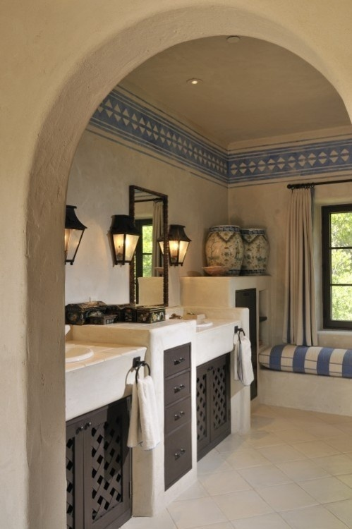 Spanish colonial bathroom home decor pinterest wood for Spanish style bathroom
