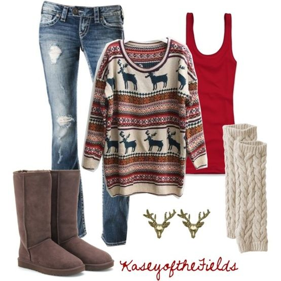 This outfit looks so warm! Makes me want to sit by a fire and drink hot cocoa!