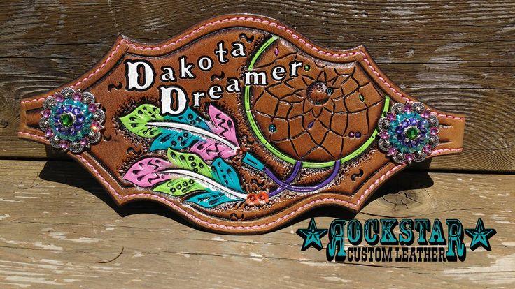 Rockstar Custom Leather pink, green, and purple dreamcatcher feather bronc halter noseband 'Dakota Dreamer'