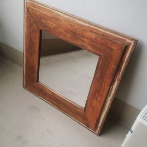 Antique Rustic Vintage Mirror Solid Wood Heart Pine