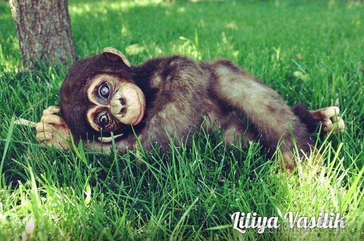 Детеныш шимпанзе - авторские игрушки Лилии Василик