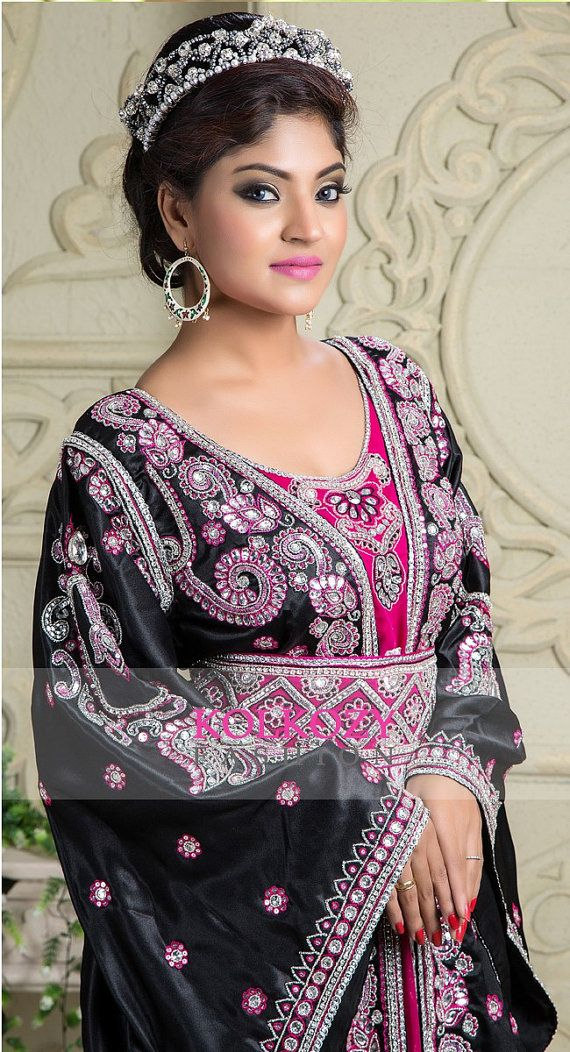Black and Pink color Moroccan Kaftan Dress Very by KolkozyShop