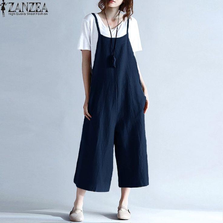 ZANZEA Womens Summer Spaghetti Straps Wide Leg Harem Loose Long Pants Jumpsuit Cotton Linen Solid Romper Overalls Plus Size #Affiliate
