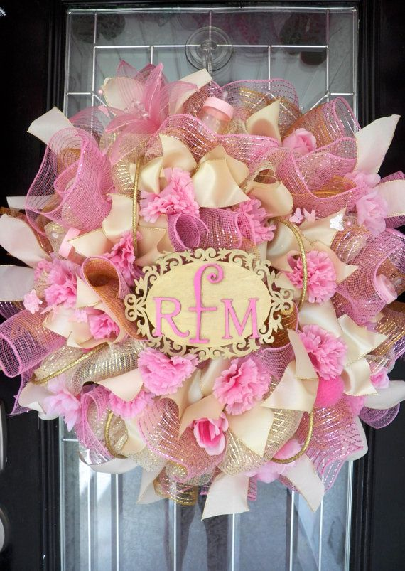 Best 25 new baby wreath ideas on pinterest hospital for Baby shower door decoration