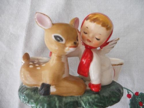 1959 Holt Howard Japan Christmas Candleholders w Angel Deer XLNT Cond | eBay