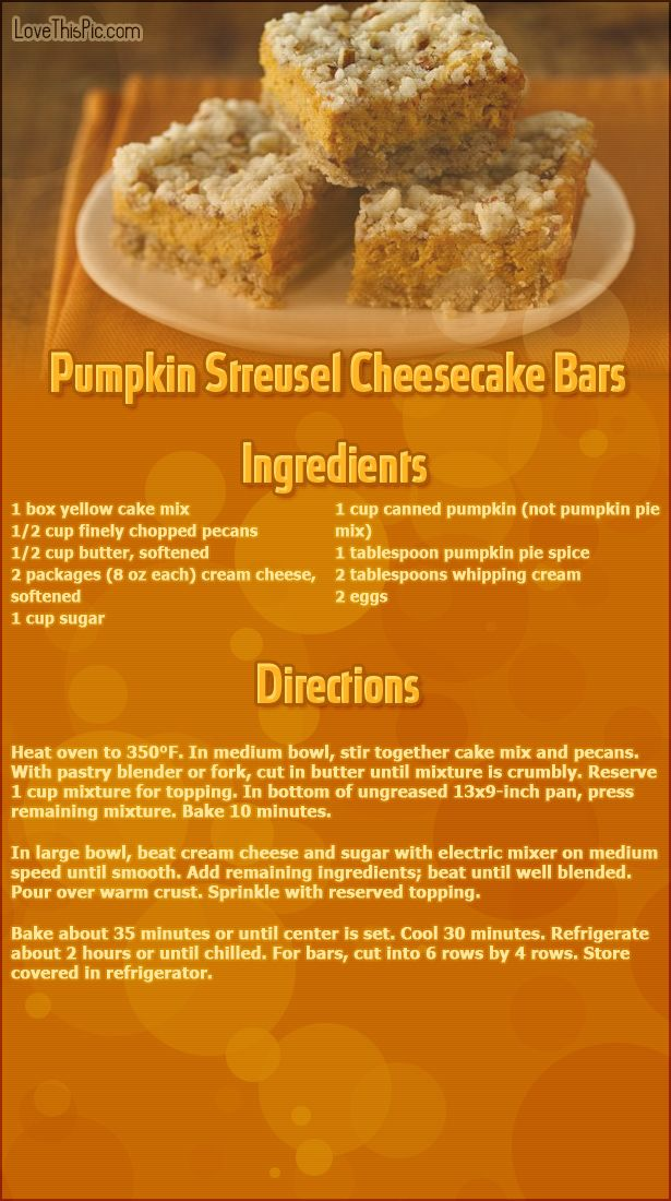 Pumpkin Streusel Cheesecake Bars Thanksgiving Recipes