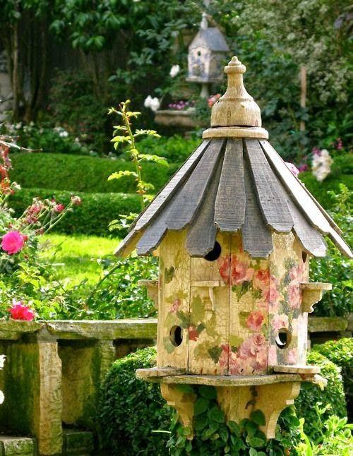 I love a beautiful birdhouse in the garden!