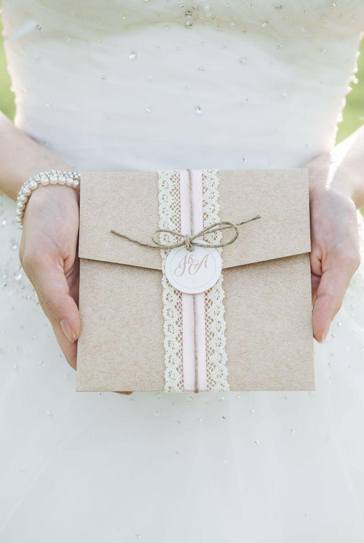 Vintage rose Hochzeitspapeterie Pocketfold mit Spitze