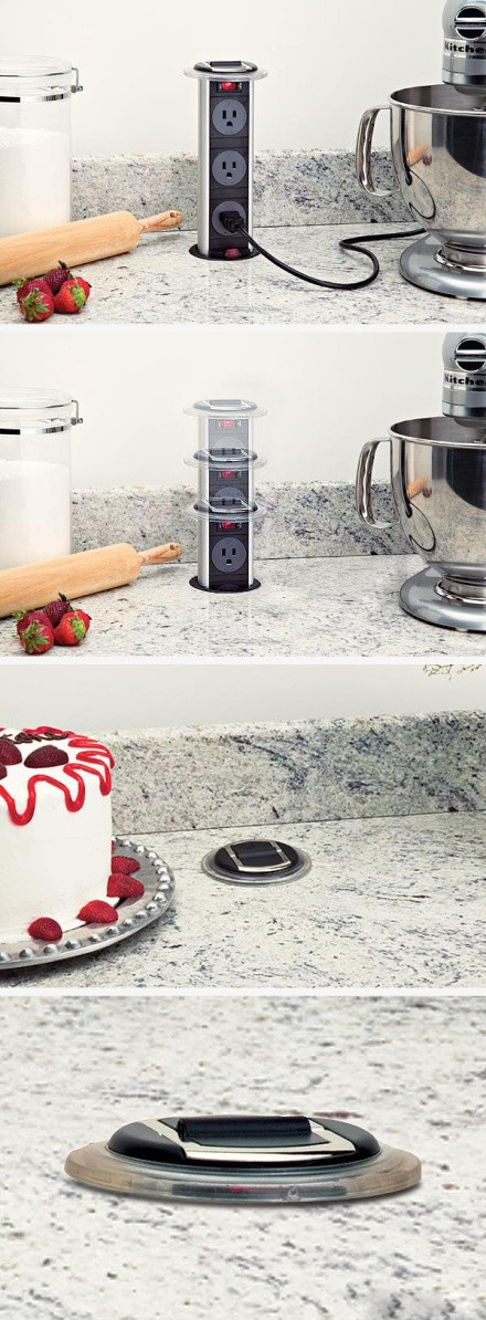 Escondendo as tomadas na bancada da cozinha. http://ads.tt/ZHOU