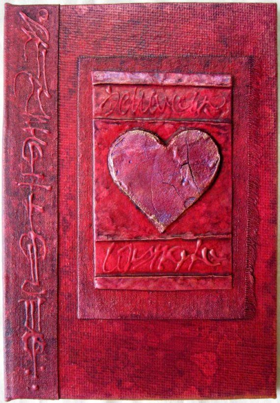Items similar to Refillable Journal Red Copper Cracked Heart Handmade OOAK 6x4 Original on Etsy